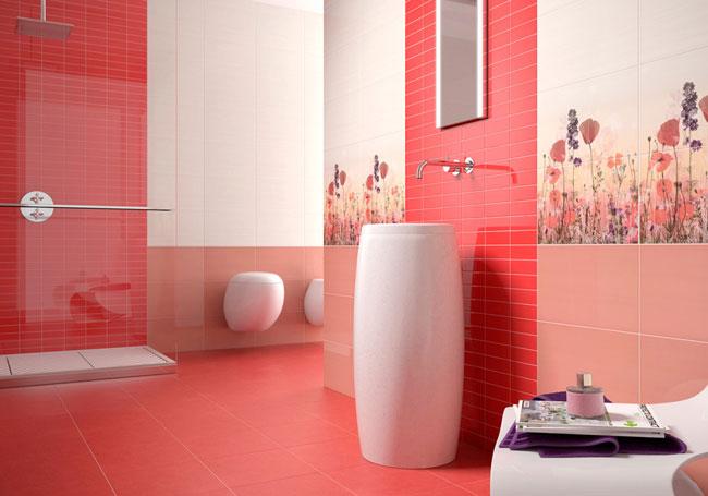 Badkamertegels Felle Kleuren : Klaslokaaltegels voor de badkamer. ontwerp van tegels in de badkamer