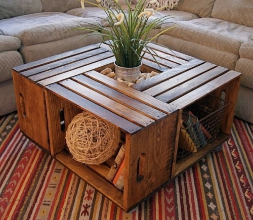 The Easiest To Make A Coffee Table By Right Can Be Called A Table Of Wooden  Boxes. Such A Table Can Be Made From Old Or New Ready Made Wine Boxes, ...